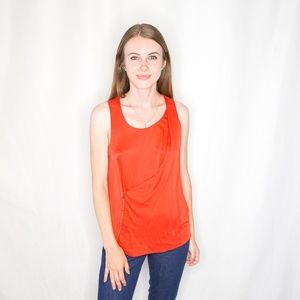 TOM FORD Red Silk Offset Zipper Tank Top Solid 38